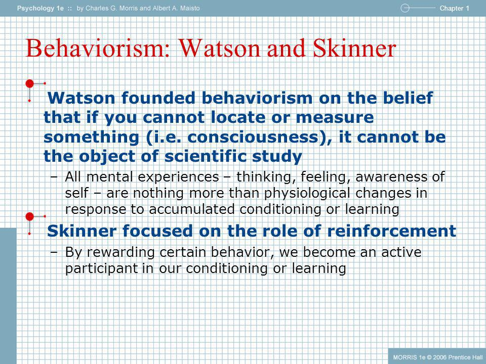 Chapter 1 Behaviorism: Watson and Skinner Watson founded behaviorism on the belief that if you cannot locate or measure something (i.e. consciousness)
