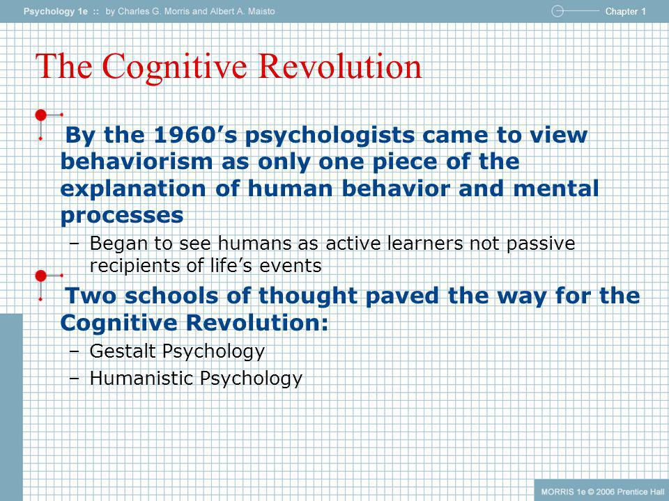 Chapter 1 The Cognitive Revolution By the 1960s psychologists came to view behaviorism as only one piece of the explanation of human behavior and ment
