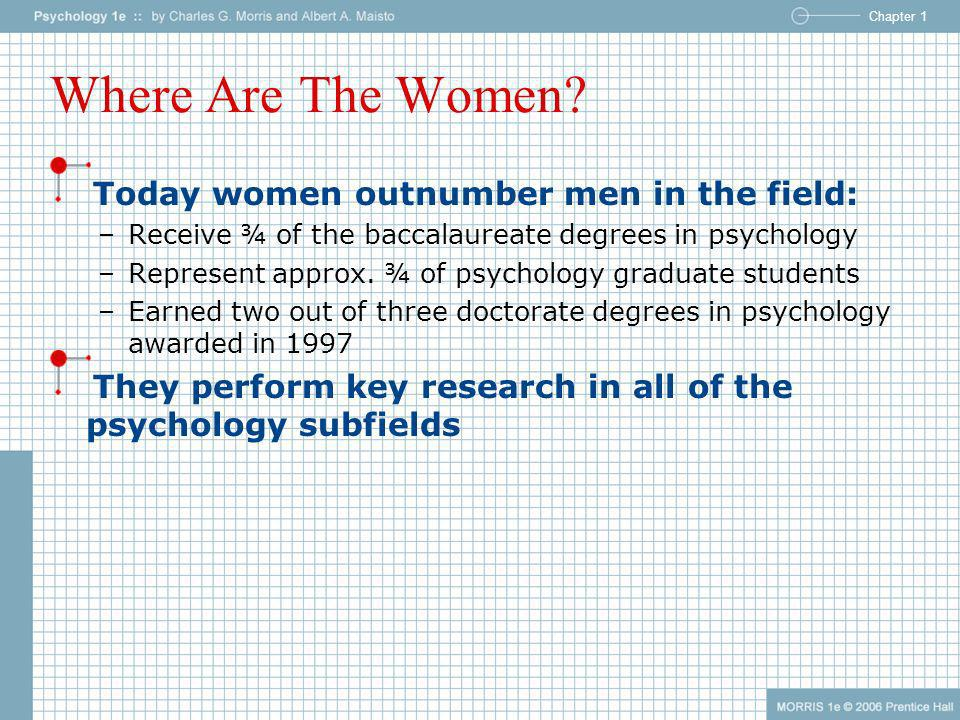 Chapter 1 Where Are The Women? Today women outnumber men in the field: –Receive ¾ of the baccalaureate degrees in psychology –Represent approx. ¾ of p