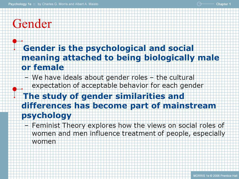 Chapter 1 Gender Gender is the psychological and social meaning attached to being biologically male or female –We have ideals about gender roles – the