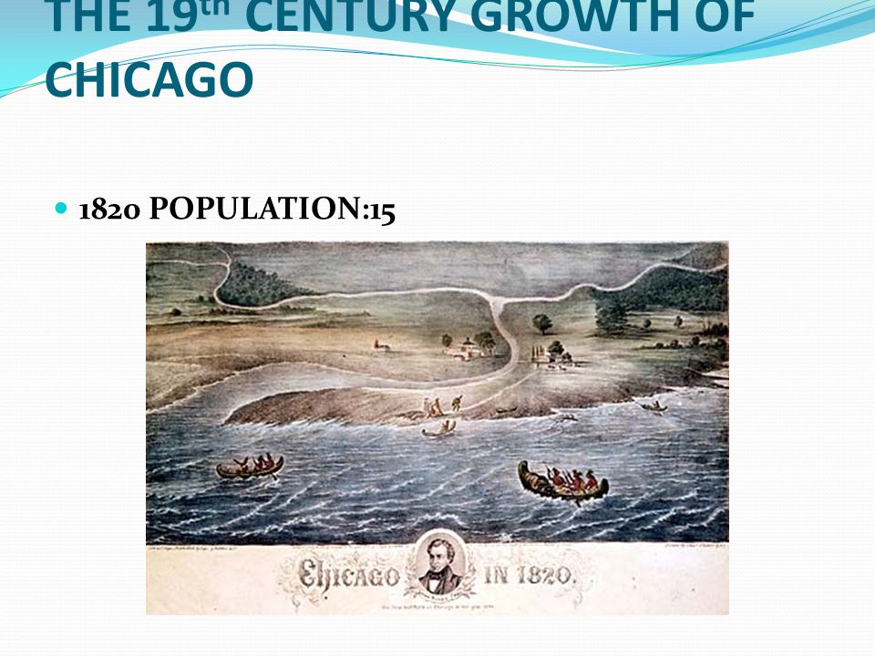 THE 19 th CENTURY GROWTH OF CHICAGO 1820 POPULATION:15