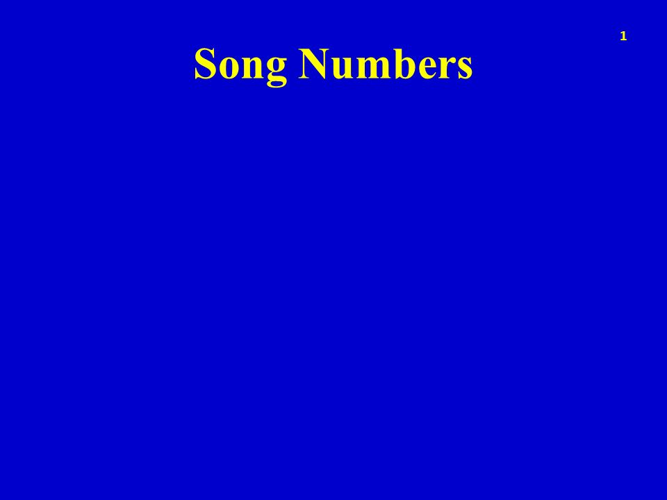 Song Numbers 1