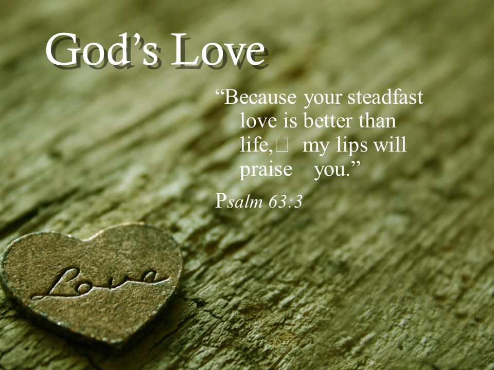 Gods Love Because your steadfast love is better than life, my lips will praise you. P salm 63:3
