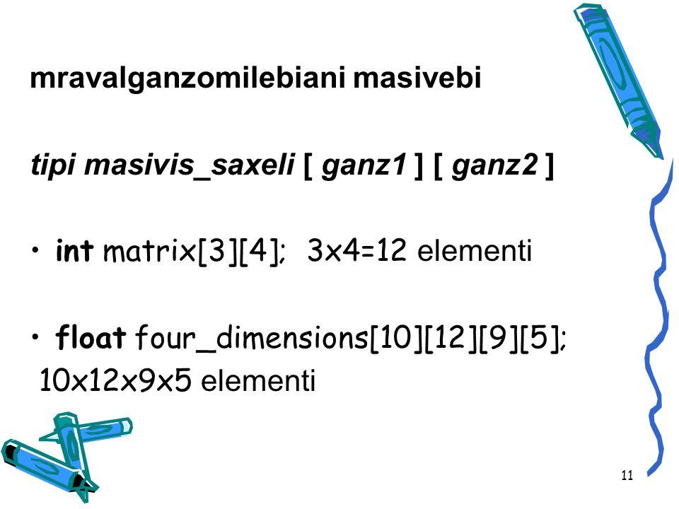 mravalganzomilebiani masivebi tipi masivis_saxeli [ ganz1 ] [ ganz2 ] int matrix[3][4]; 3x4=12 elementi float four_dimensions[10][12][9][5]; 10x12x9x5 elementi 11