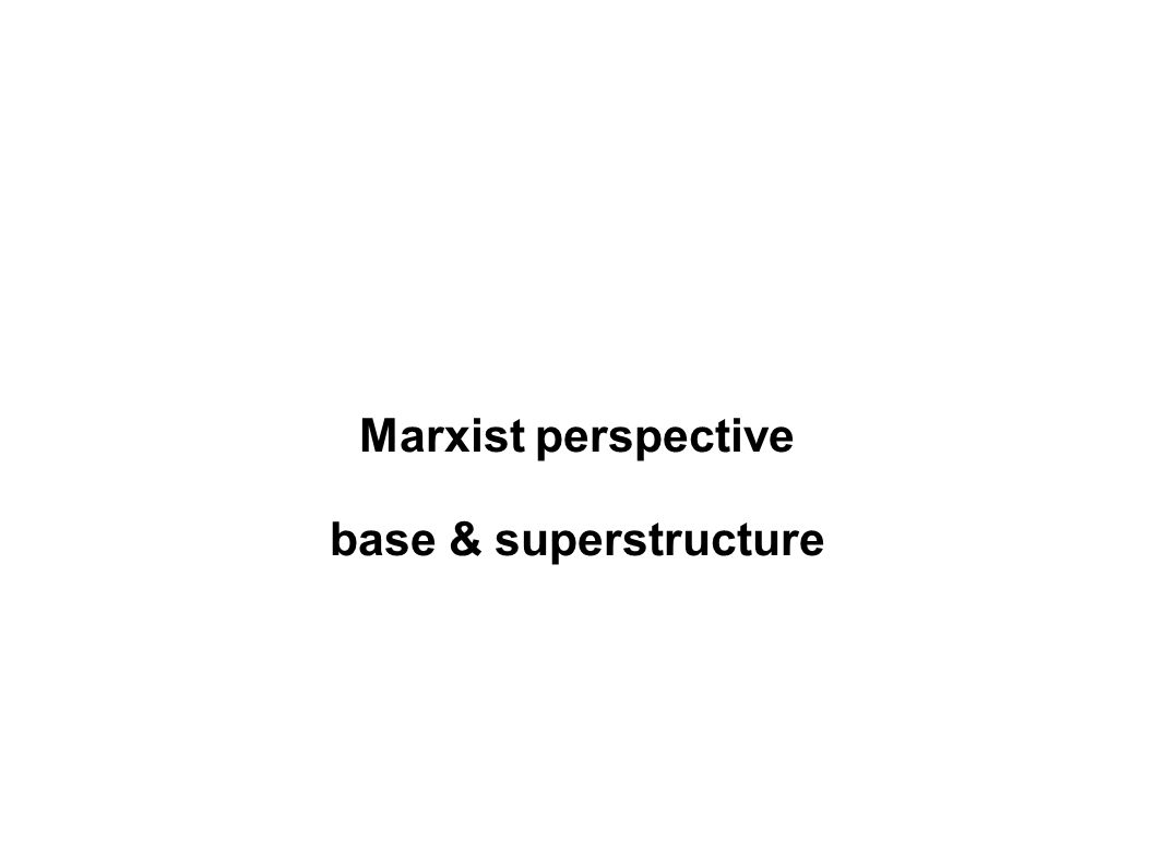 Marxist perspective base & superstructure