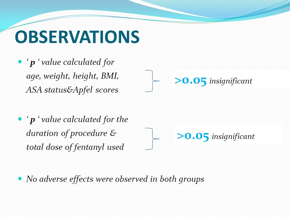 OBSERVATIONS p value calculated for age, weight, height, BMI, ASA status&Apfel scores p value calculated for the duration of procedure & total dose of