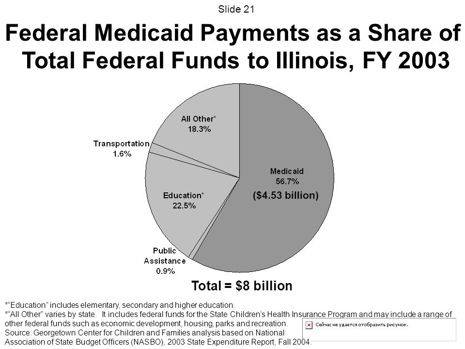 Total = $8 billion ($4.53 billion) Federal Medicaid Payments as a Share of Total Federal Funds to Illinois, FY 2003 *Education includes elementary, secondary and higher education.