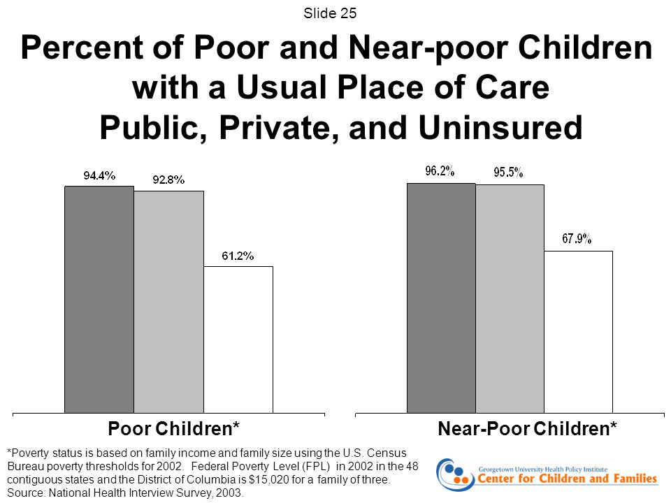 *Poverty status is based on family income and family size using the U.S. Census Bureau poverty thresholds for 2002. Federal Poverty Level (FPL) in 200