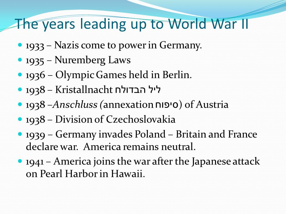 The years leading up to World War II 1933 – Nazis come to power in Germany.