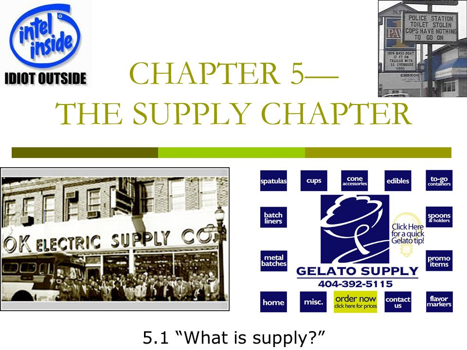 CHAPTER 5 THE SUPPLY CHAPTER 5.1 What is supply?