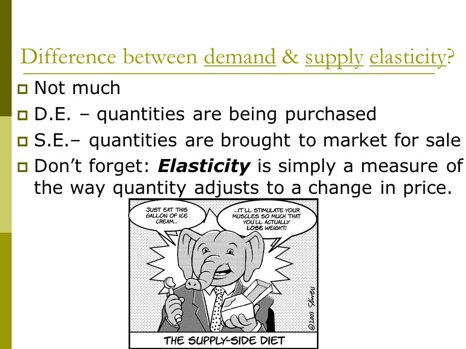 Difference between demand & supply elasticity.Not much D.E.