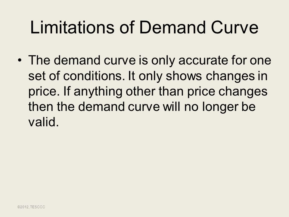 Limitations of Demand Curve The demand curve is only accurate for one set of conditions. It only shows changes in price. If anything other than price