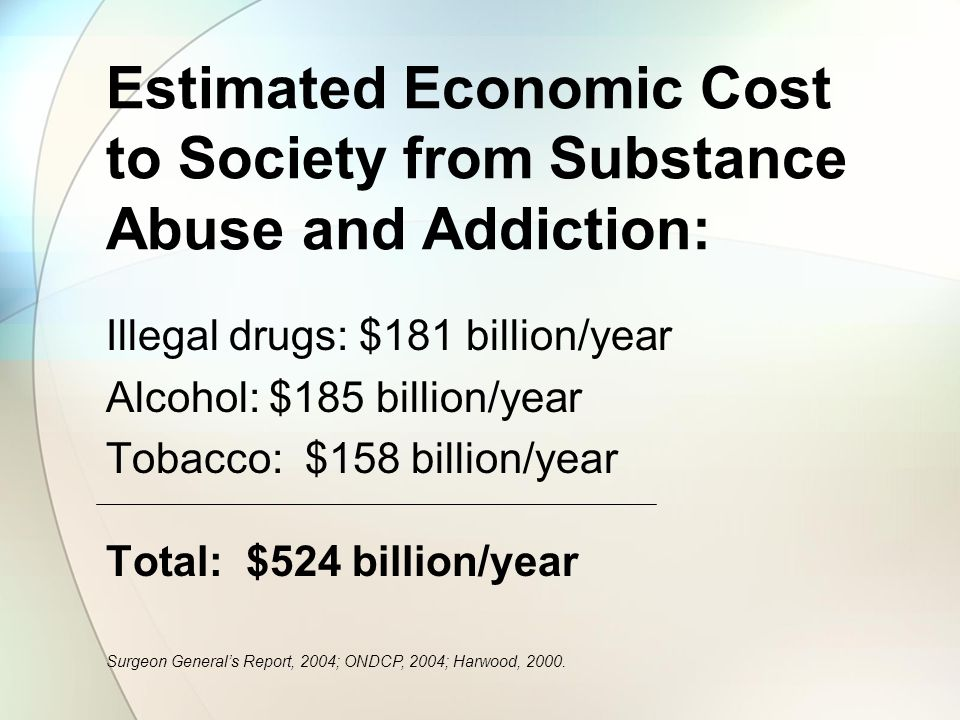Estimated Economic Cost to Society from Substance Abuse and Addiction: Illegal drugs: $181 billion/year Alcohol: $185 billion/year Tobacco: $158 billion/year Total: $524 billion/year Surgeon Generals Report, 2004; ONDCP, 2004; Harwood, 2000.