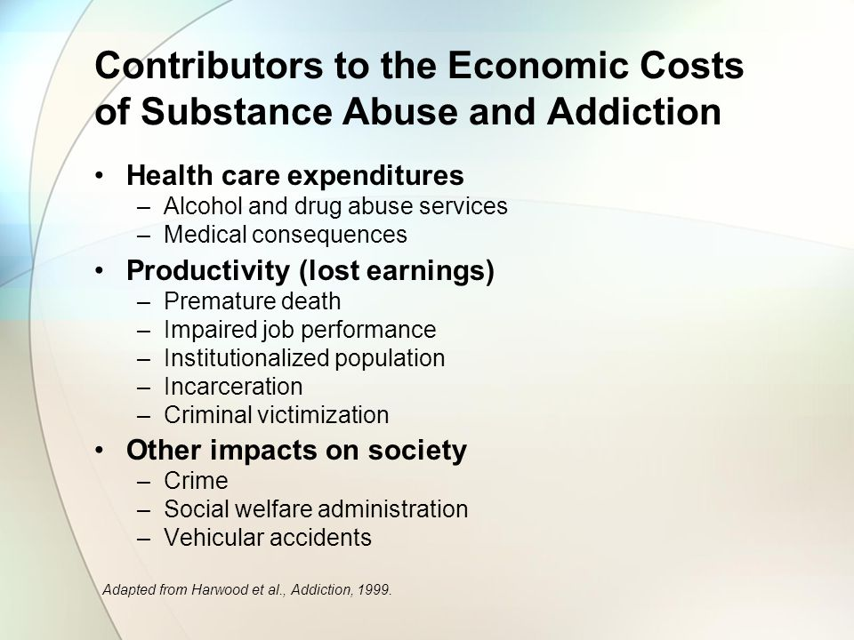 Contributors to the Economic Costs of Substance Abuse and Addiction Health care expenditures –Alcohol and drug abuse services –Medical consequences Productivity (lost earnings) –Premature death –Impaired job performance –Institutionalized population –Incarceration –Criminal victimization Other impacts on society –Crime –Social welfare administration –Vehicular accidents Adapted from Harwood et al., Addiction, 1999.