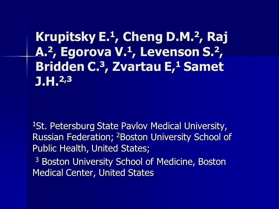 Krupitsky E. 1, Cheng D.M. 2, Raj A. 2, Egorova V.