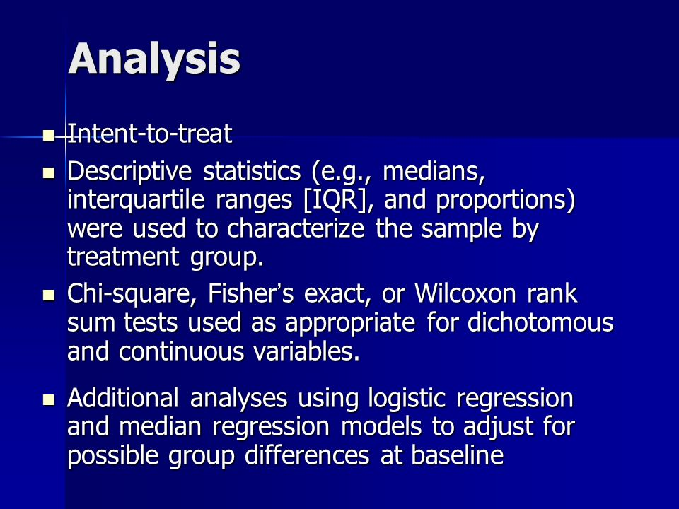 Analysis Intent-to-treat Intent-to-treat Descriptive statistics (e.g., medians, interquartile ranges [IQR], and proportions) were used to characterize