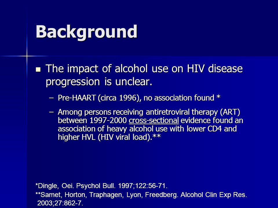 *Dingle, Oei. Psychol Bull. 1997;122:56-71. **Samet, Horton, Traphagen, Lyon, Freedberg. Alcohol Clin Exp Res. 2003;27:862-7. Background The impact of