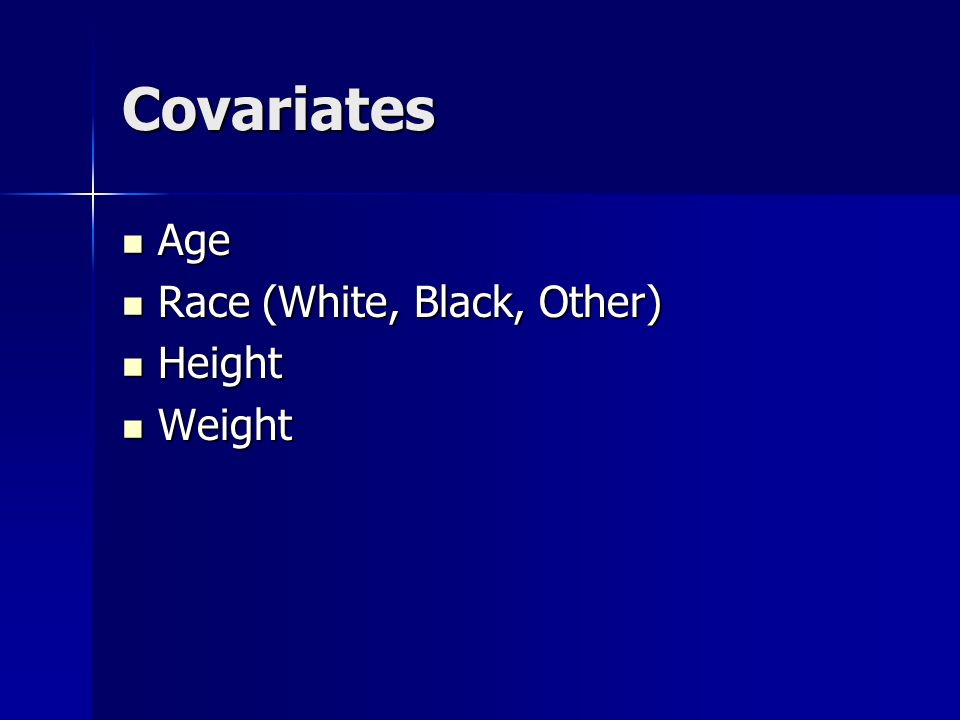 Covariates Age Age Race (White, Black, Other) Race (White, Black, Other) Height Height Weight Weight