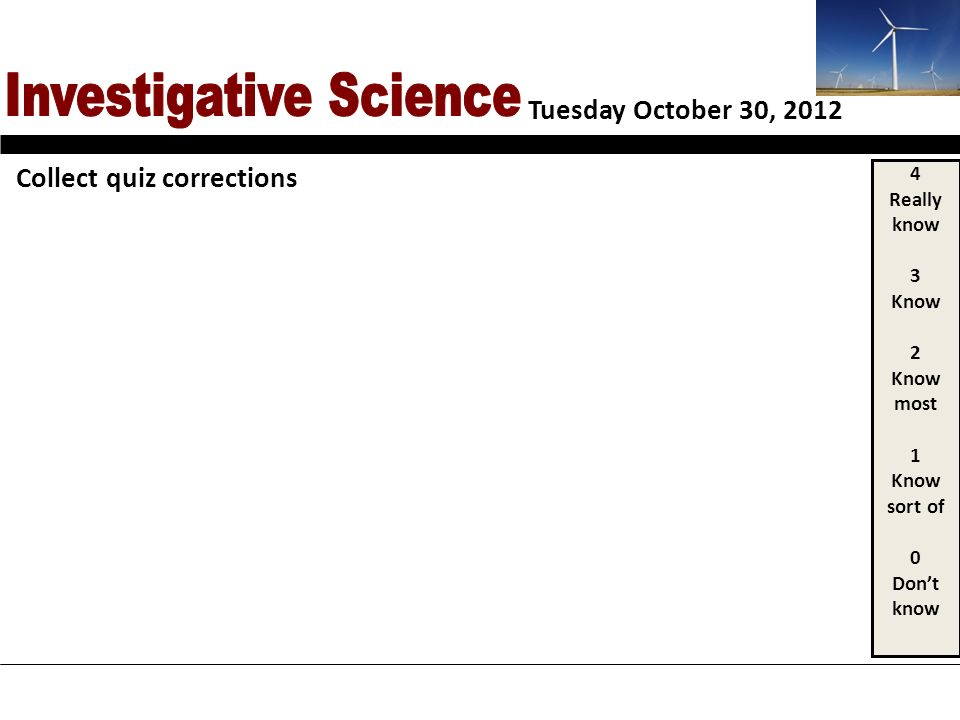 Tuesday October 30, 2012 4 Really know 3 Know 2 Know most 1 Know sort of 0 Dont know Collect quiz corrections
