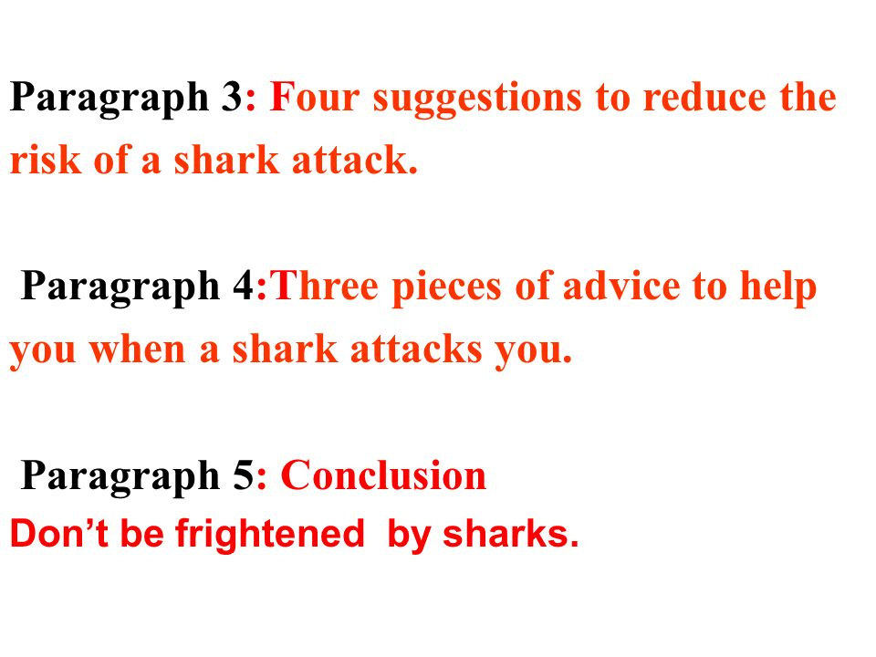 Paragraph 3: Four suggestions to reduce the risk of a shark attack. Paragraph 4:Three pieces of advice to help you when a shark attacks you. Paragraph