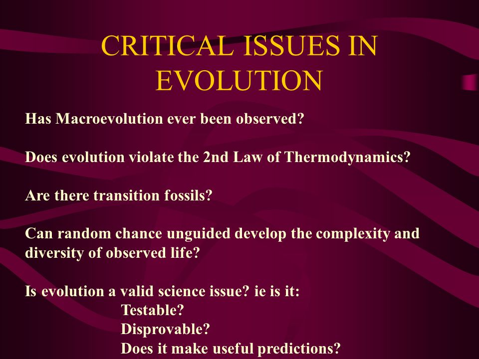 CRITICAL ISSUES IN EVOLUTION Has Macroevolution ever been observed? Does evolution violate the 2nd Law of Thermodynamics? Are there transition fossils