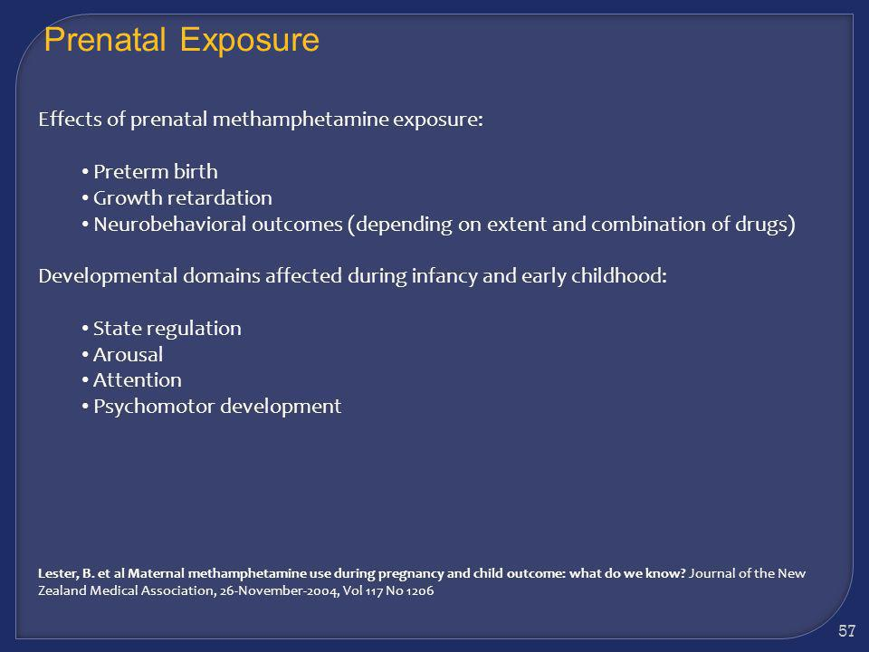 56 Evidence suggests there are likely to be adverse developmental effects for children exposed prenatally to methamphetamine, either because of the dr