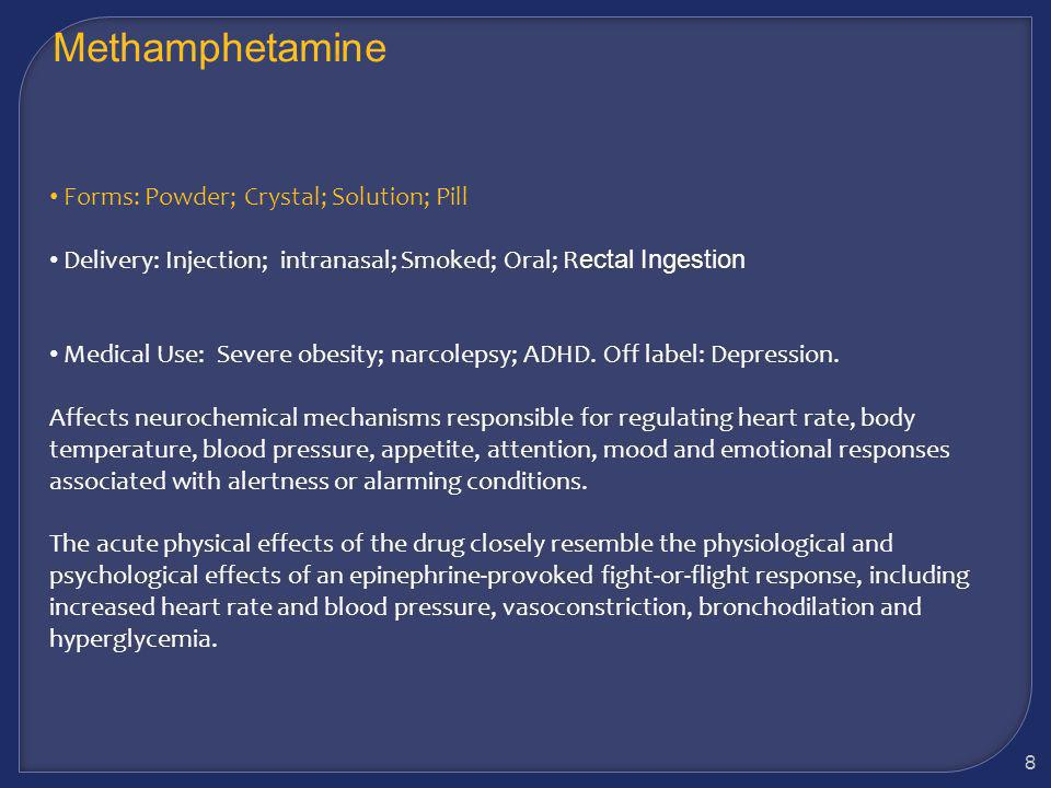 Considerations Some users report plain old sex is boring Some users report they couldnt have sex without methamphetamine Methamphetamine may increase confidence while lowering inhibitions Users may give in to impulses that may result in at-risk behavior Increased risk of STDs 68