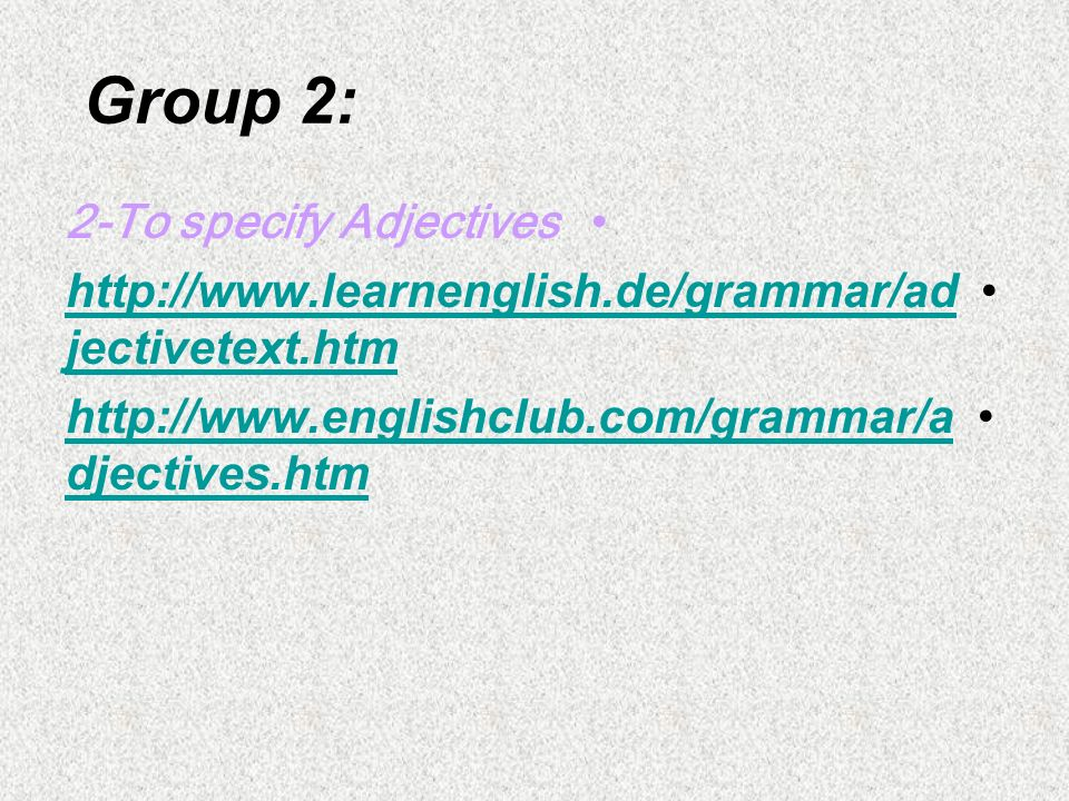Groups Activity Group 1: 1-To analyze the use of there is/are+Form (Affirmative, Negative and Question with short answers) http://www.eslgo.com/classe