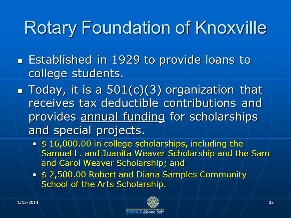 Rotary Foundation of Knoxville Established in 1929 to provide loans to college students.