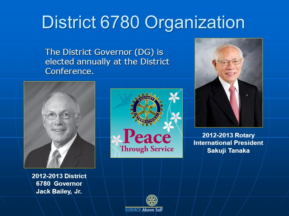 The District Governor (DG) is elected annually at the District Conference.