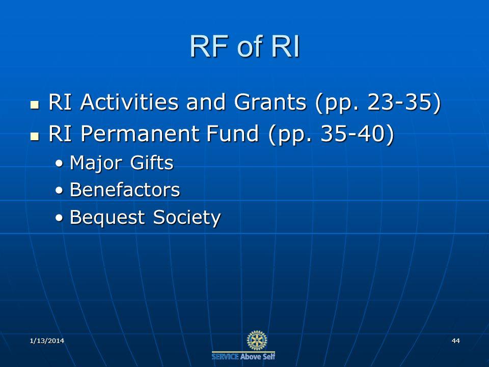 RF of RI RI Activities and Grants (pp. 23-35) RI Activities and Grants (pp.