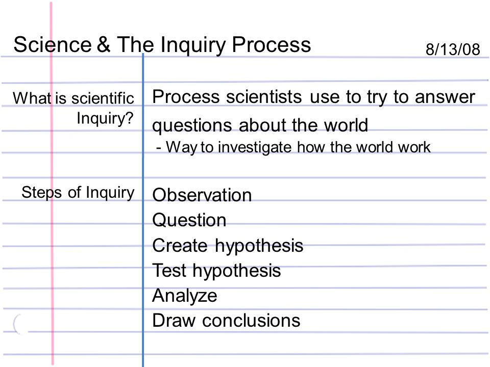 Science & The Inquiry Process 8/13/08 What is scientific Inquiry.