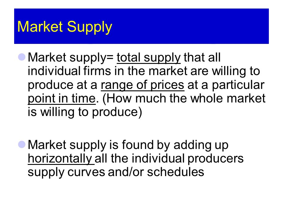 Market Supply Market supply= total supply that all individual firms in the market are willing to produce at a range of prices at a particular point in time.