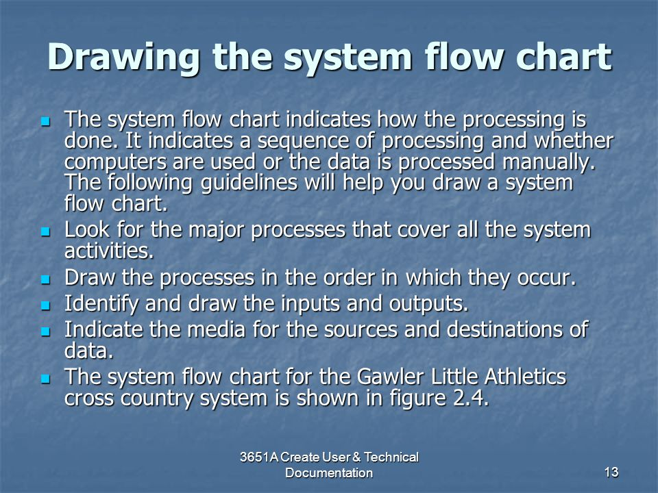 3651A Create User & Technical Documentation13 Drawing the system flow chart The system flow chart indicates how the processing is done. It indicates a