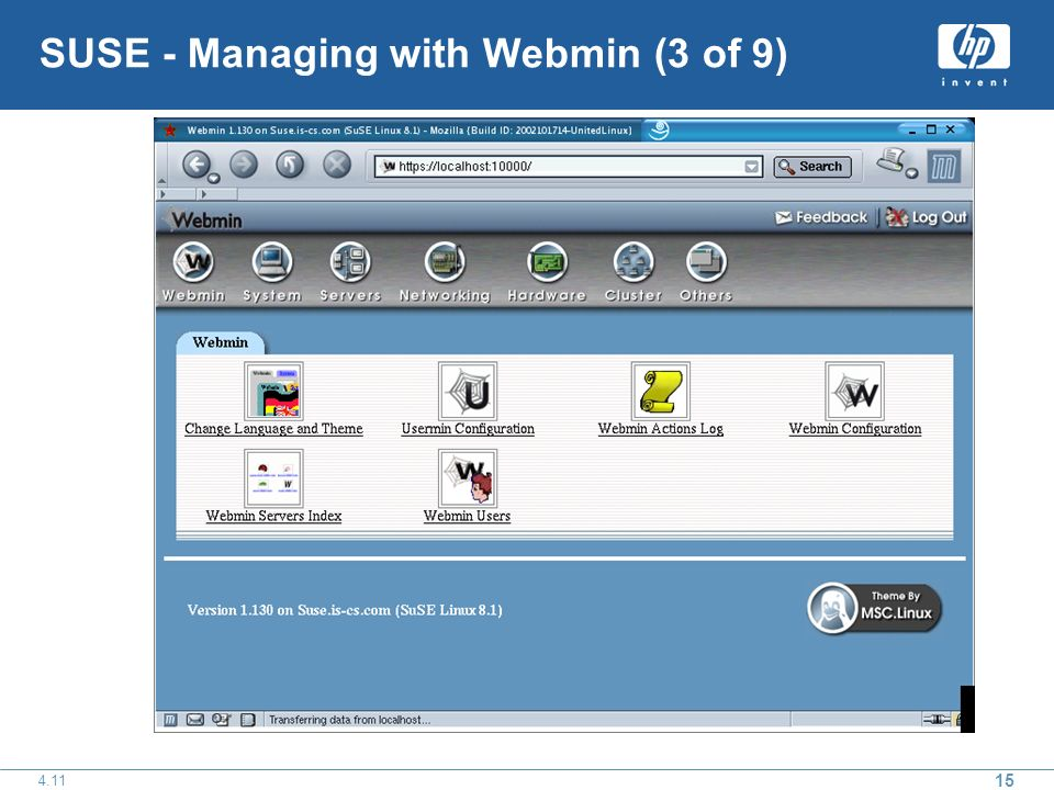 15 4.11 SUSE - Managing with Webmin (3 of 9)