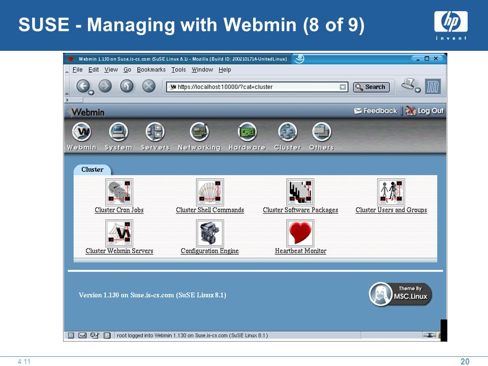 SUSE - Managing with Webmin (8 of 9)