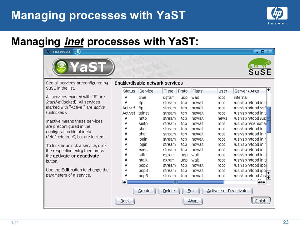 23 4.11 Managing processes with YaST Managing inet processes with YaST: