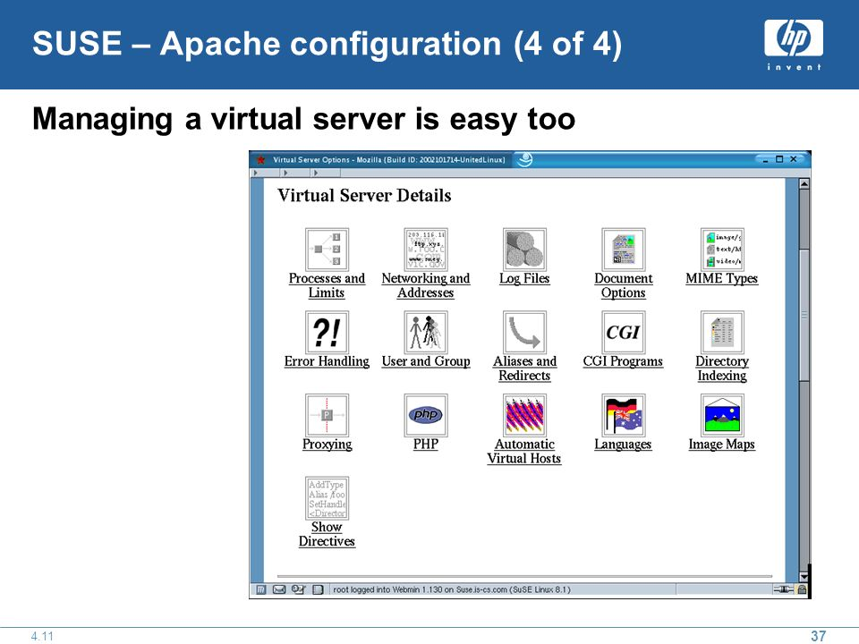 SUSE – Apache configuration (4 of 4) Managing a virtual server is easy too