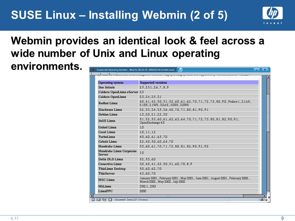 9 4.11 SUSE Linux – Installing Webmin (2 of 5) Webmin provides an identical look & feel across a wide number of Unix and Linux operating environments.