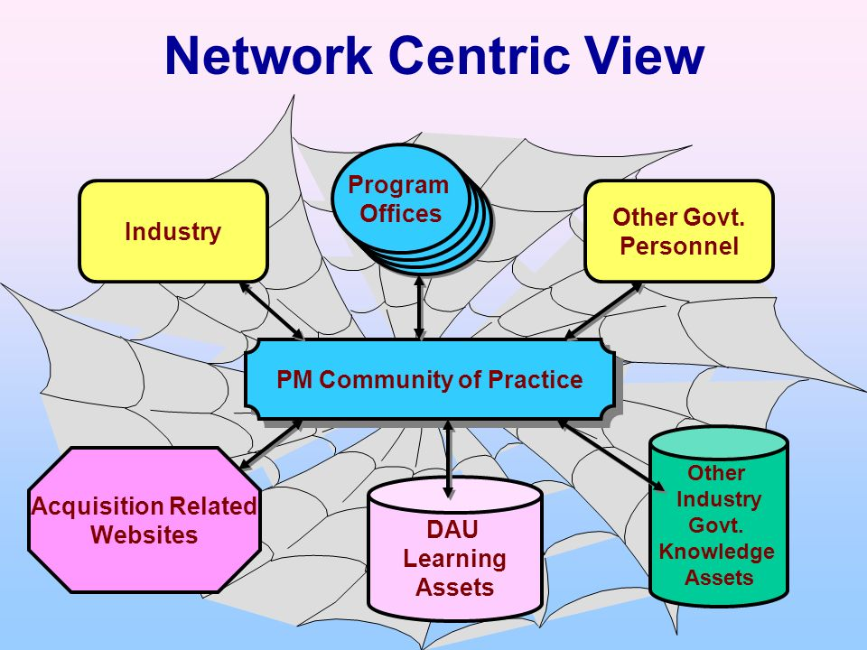 Network Centric View PM Community of Practice Program Office Program Office Program Office Program Office Program Offices DAU Learning Assets Acquisit
