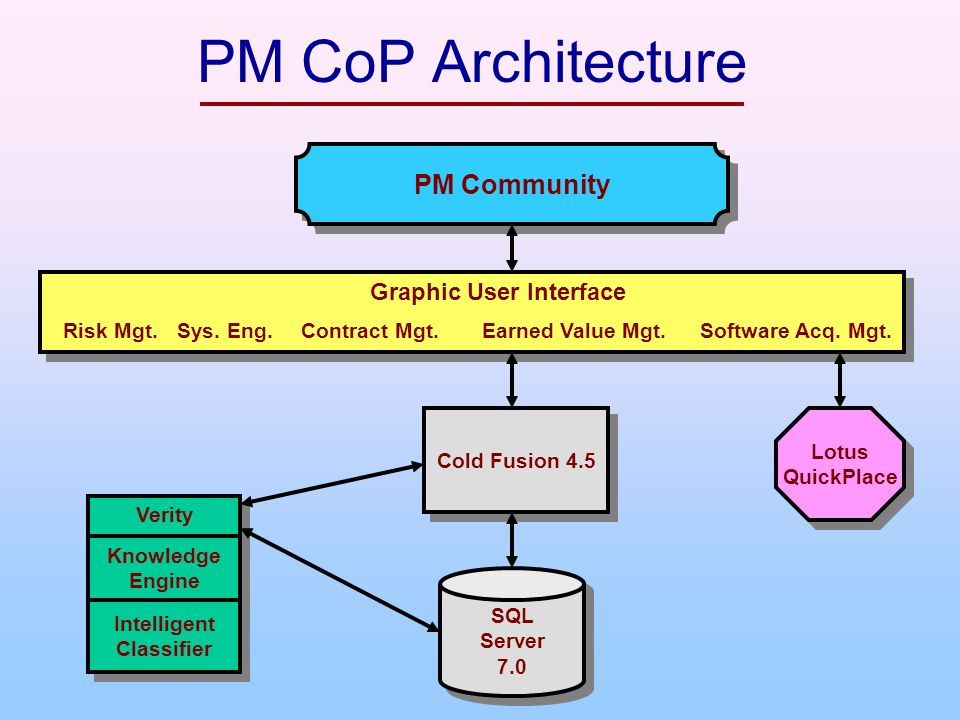 PM CoP Architecture Cold Fusion 4.5 SQL Server 7.0 SQL Server 7.0 Lotus QuickPlace Lotus QuickPlace Knowledge Engine Intelligent Classifier Verity Graphic User Interface Risk Mgt.Sys.