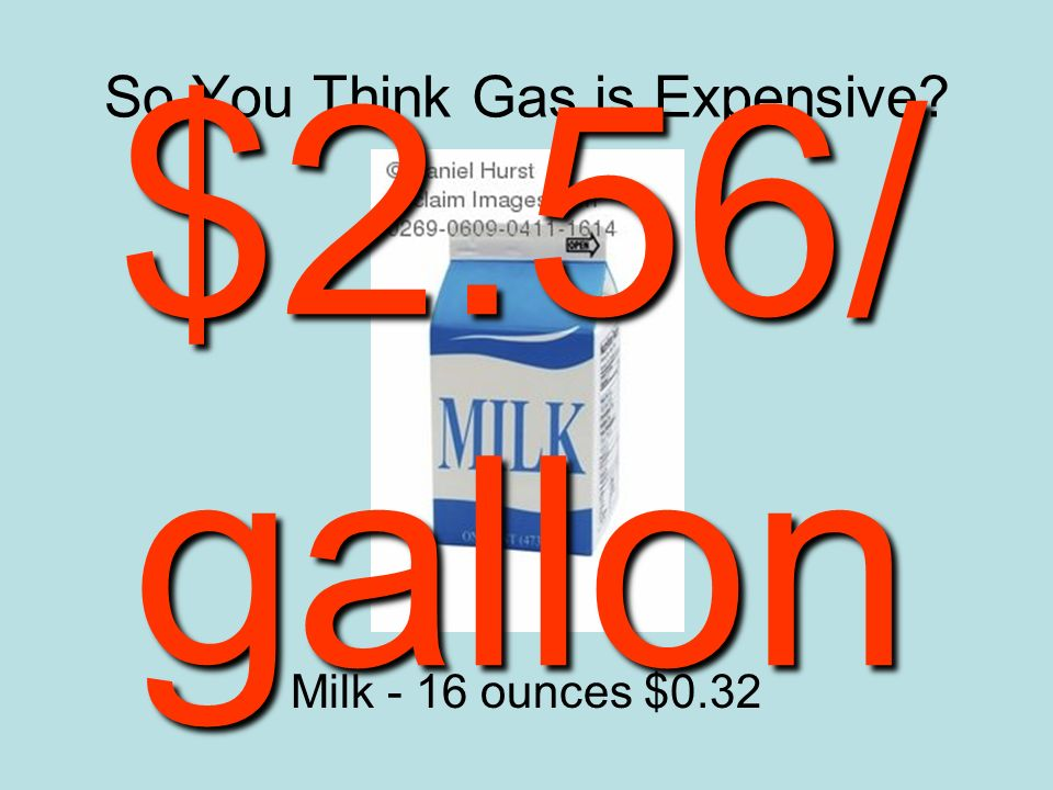 So You Think Gas is Expensive Milk - 16 ounces $0.32 $2.56/ gallon