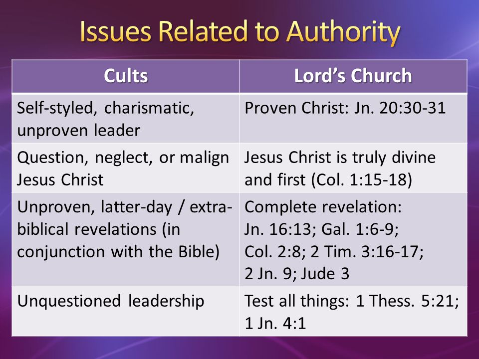 Cults Lords Church Self-styled, charismatic, unproven leader Proven Christ: Jn.