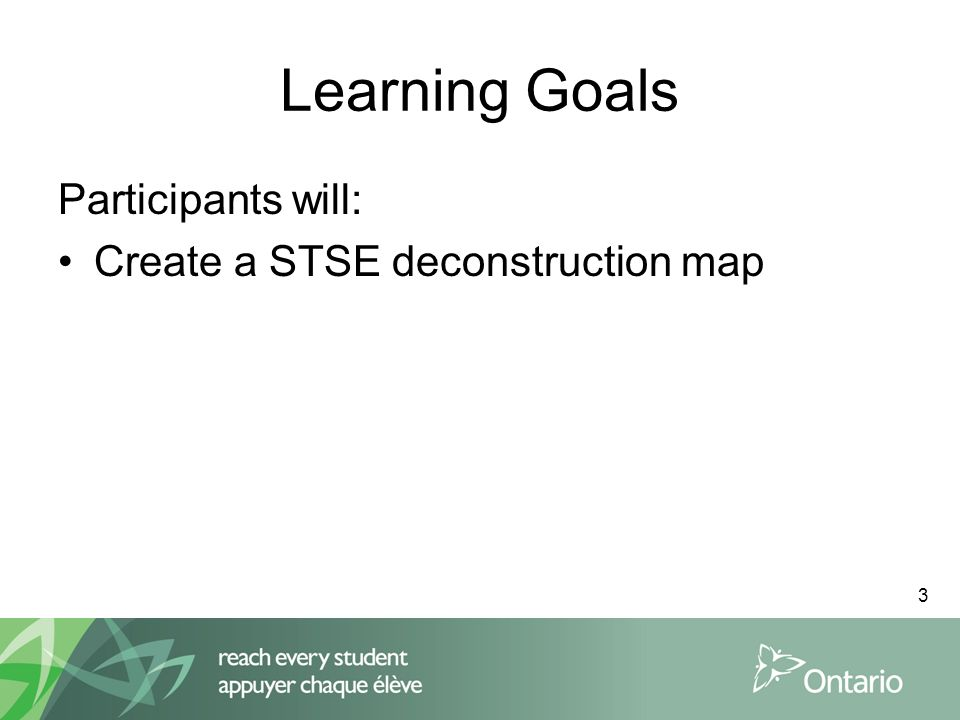 3 Learning Goals Participants will: Create a STSE deconstruction map