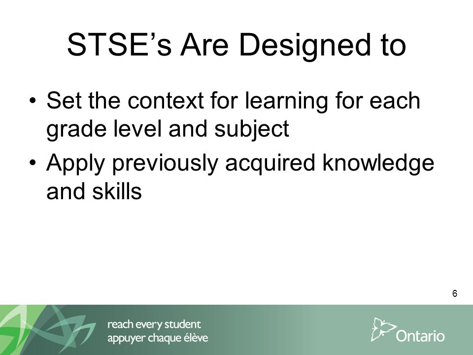 7 Structure of the STSEs Specific Expectation Broad Areas of Skills Links Sample Issues Sample Questions
