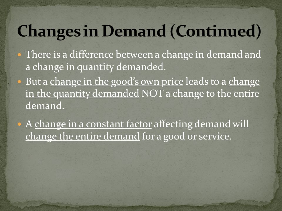 There is a difference between a change in demand and a change in quantity demanded. But a change in the goods own price leads to a change in the quant