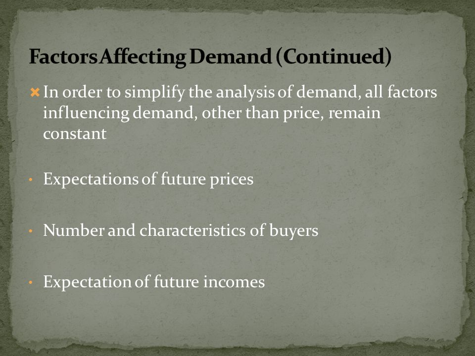 In order to simplify the analysis of demand, all factors influencing demand, other than price, remain constant Expectations of future prices Number an