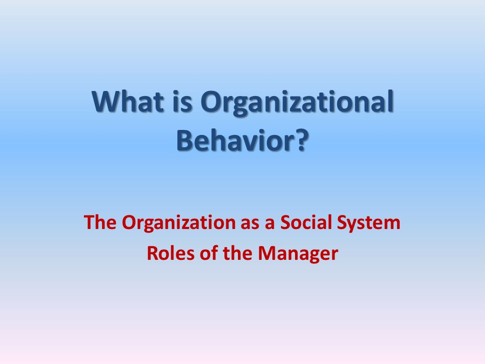 What is Organizational Behavior? The Organization as a Social System Roles of the Manager