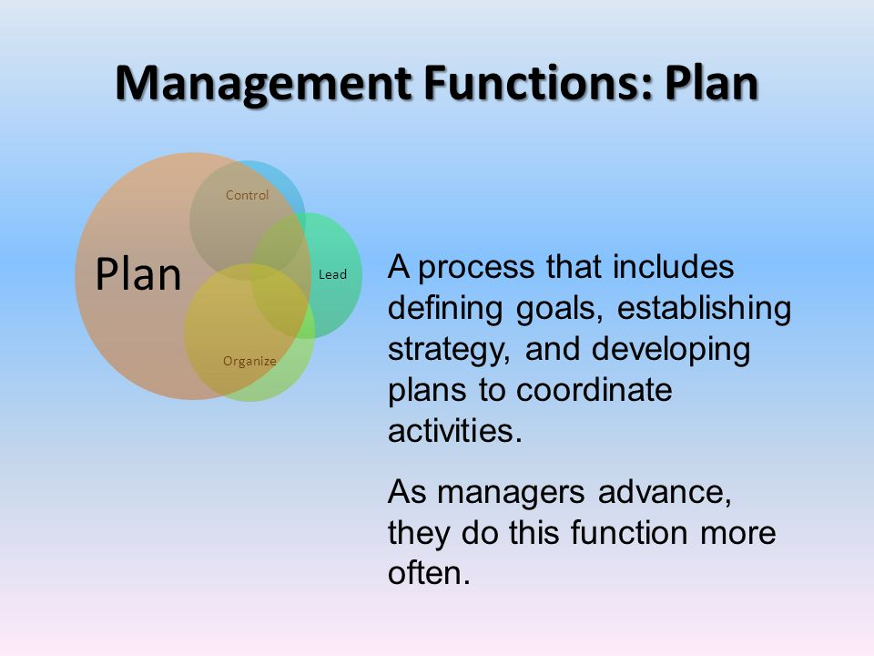 planning as a managerial functions Planning is the part of management concerned with creating procedures, rules and guidelines for achieving a stated objective planning is.