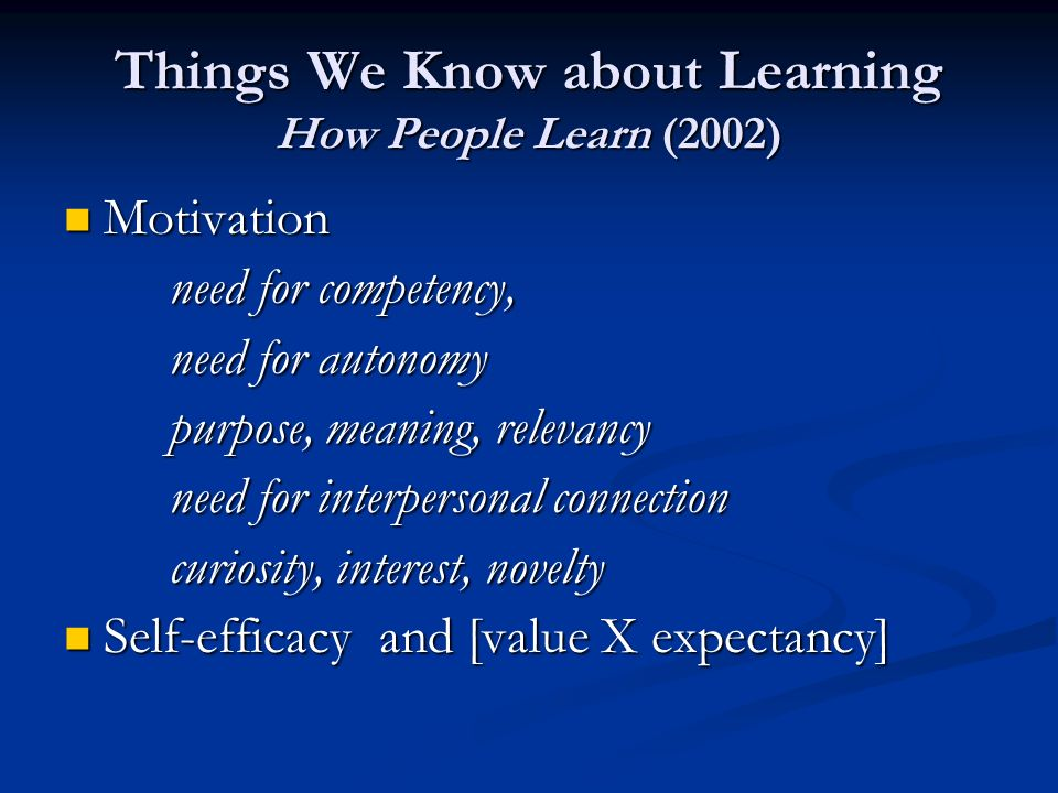 Things We Know about Learning How People Learn (2002) Motivation Motivation need for competency, need for autonomy purpose, meaning, relevancy need for interpersonal connection curiosity, interest, novelty Self-efficacy and [value X expectancy] Self-efficacy and [value X expectancy]